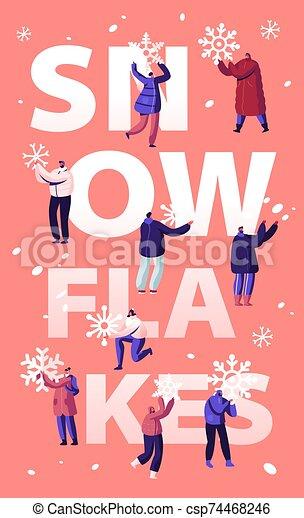 mover pala, bandera, folleto, gente, plano, actividad, aviador, feliz, nieve, calle, tiempo, ilustración, limpieza, el quitar, pala, utilizar, invierno, caricatura, vector, cartel, road., concept., snowblower, nevada - csp74468246