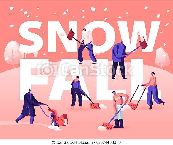 mover pala, bandera, folleto, gente, plano, actividad, aviador, feliz, nieve, calle, tiempo, ilustración, limpieza, el quitar, pala, utilizar, invierno, caricatura, vector, cartel, road., concept., snowblower, nevada - csp74468870
