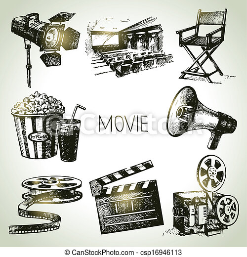 Movie and film set. Hand drawn vintage illustrations - csp16946113