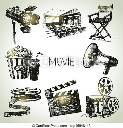 Movie and film set. Hand drawn vintage illustrations - csp16946113