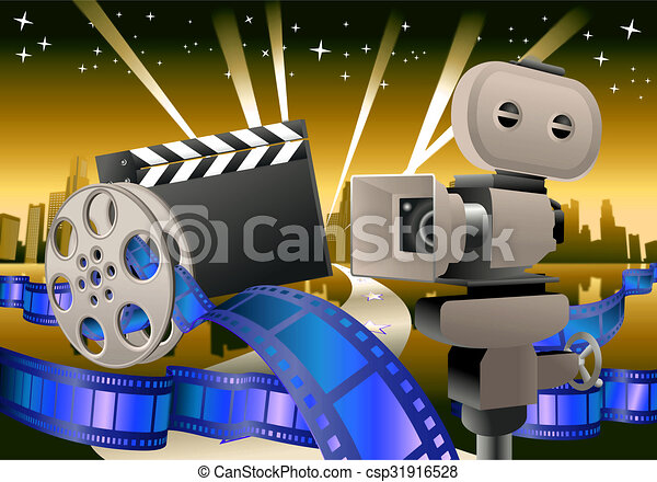 Movie background illustration of a glamour movie items on clip movie background stock illustration voltagebd Image collections