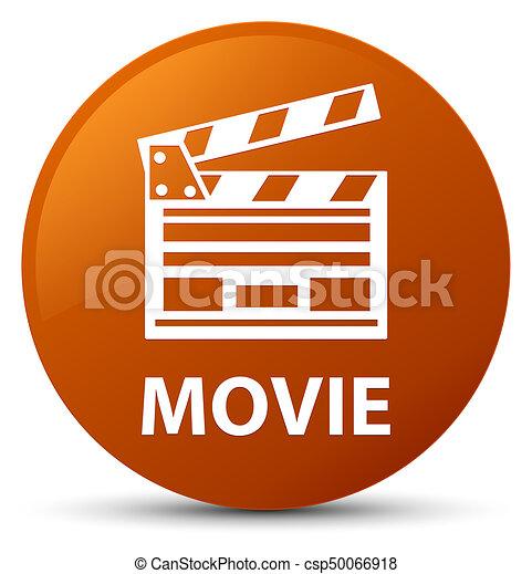 Movie (cinema clip icon) brown round button - csp50066918