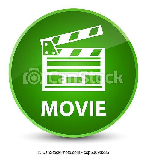 Movie (cinema clip icon) elegant green round button - csp50698236
