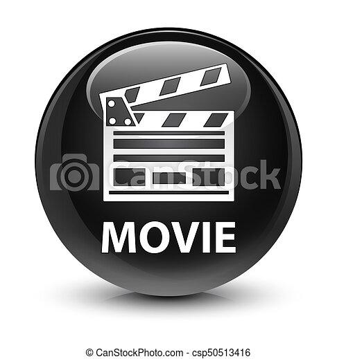 Movie (cinema clip icon) glassy black round button - csp50513416
