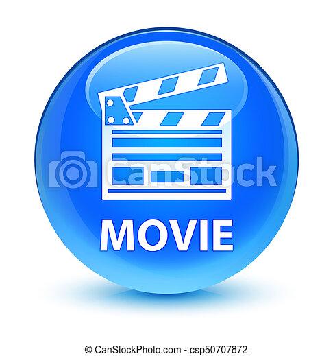 Movie (cinema clip icon) glassy cyan blue round button - csp50707872