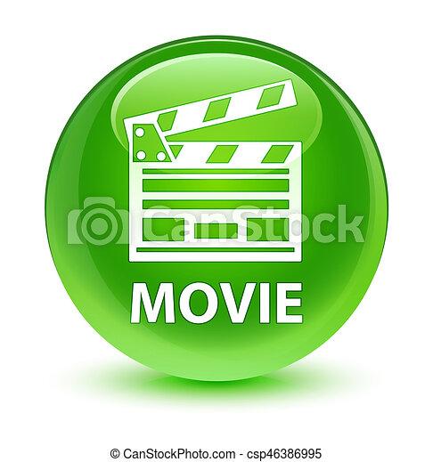 Movie (cinema clip icon) glassy green round button - csp46386995