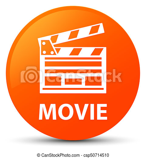 Movie (cinema clip icon) orange round button - csp50714510