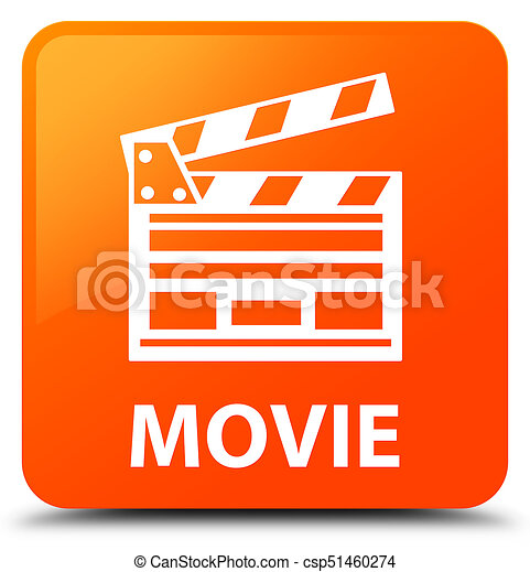 Movie (cinema clip icon) orange square button - csp51460274