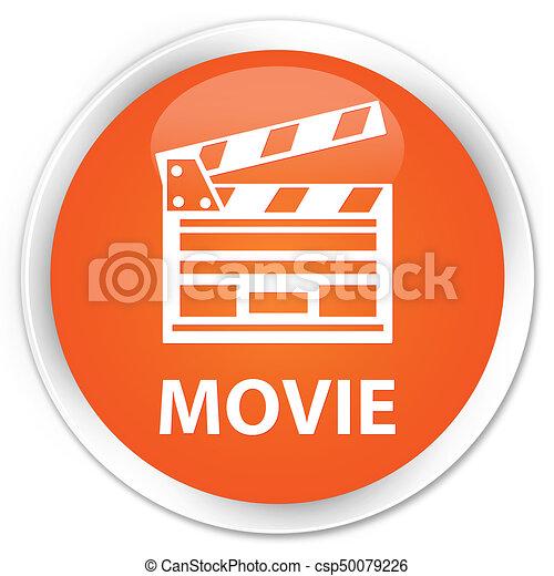 Movie (cinema clip icon) premium orange round button - csp50079226