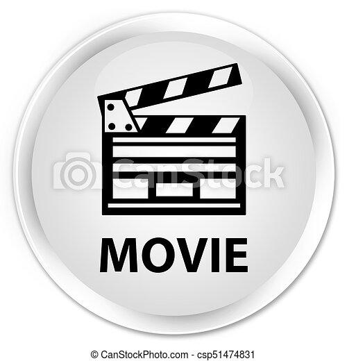 Movie (cinema clip icon) premium white round button - csp51474831