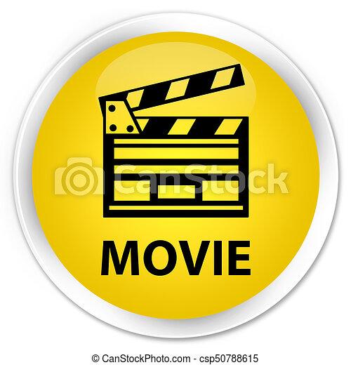 Movie (cinema clip icon) premium yellow round button - csp50788615