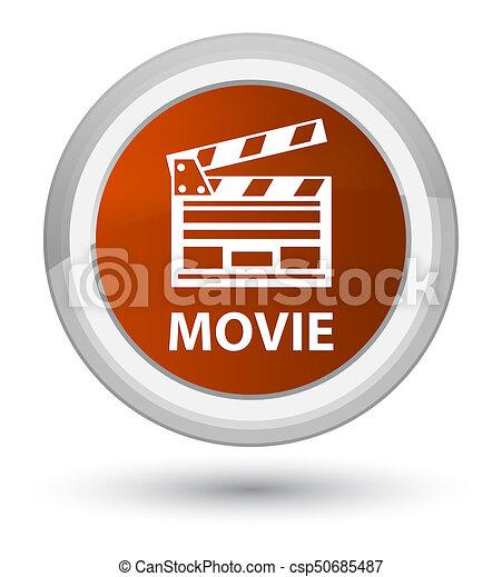 Movie (cinema clip icon) prime brown round button - csp50685487