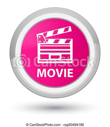 Movie (cinema clip icon) prime pink round button - csp50494186