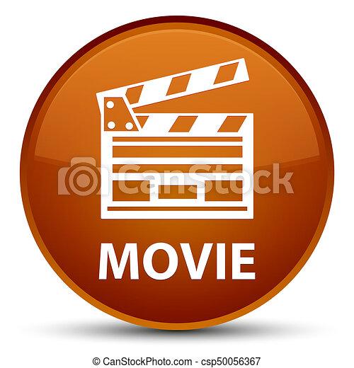 Movie (cinema clip icon) special brown round button - csp50056367