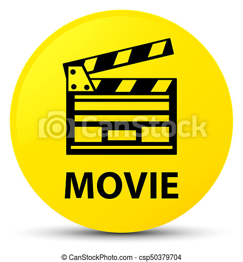 Movie (cinema clip icon) yellow round button - csp50379704