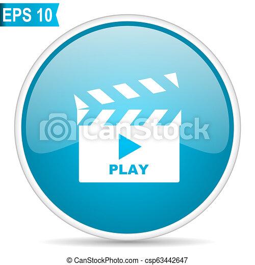 movie cinema film video button blue glossy round vector icon on white background - csp63442647