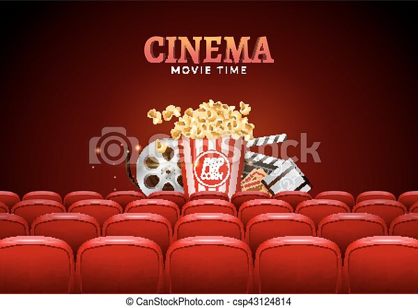 Movie Cinema Premiere Poster Design Vector Template Banner For Show With Seats Popcorn Tickets