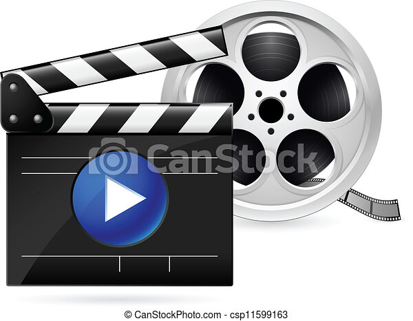 movie clapboard and reel of film open movie clapboard and realistic