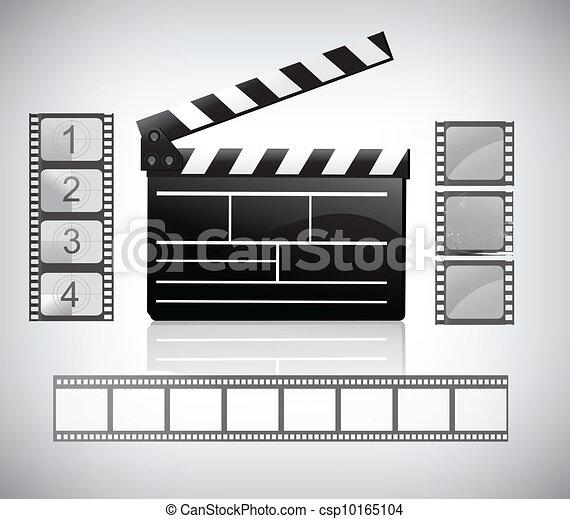 movie clapper board and filmstrip