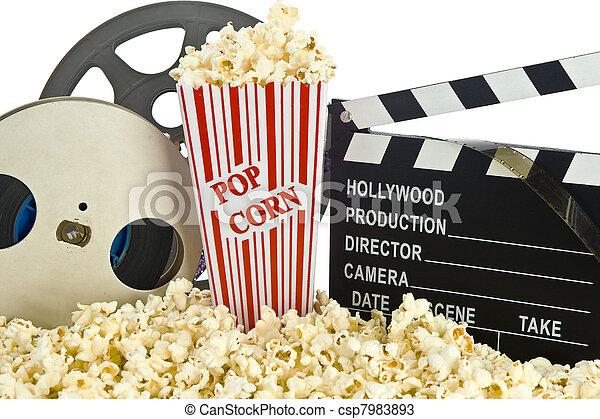 Movie Clapper Board in popcorn  - csp7983893