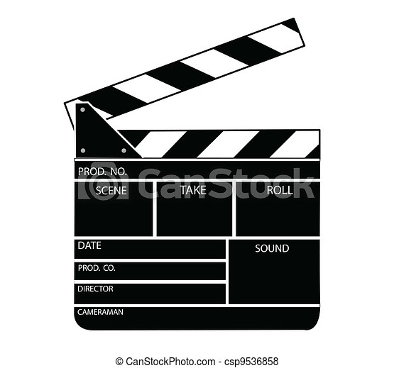 Movie clapper board vector - csp9536858