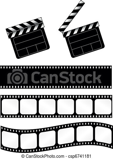Movie clapper with film strips - csp6741181