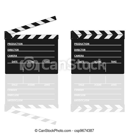 movie clapper with text on it vector illustration - csp9674387
