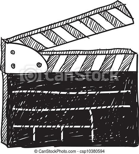 Movie clapperboard sketch - csp10380594