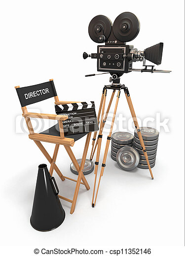 Movie composition. Vintage camera, director chair and reels. - csp11352146