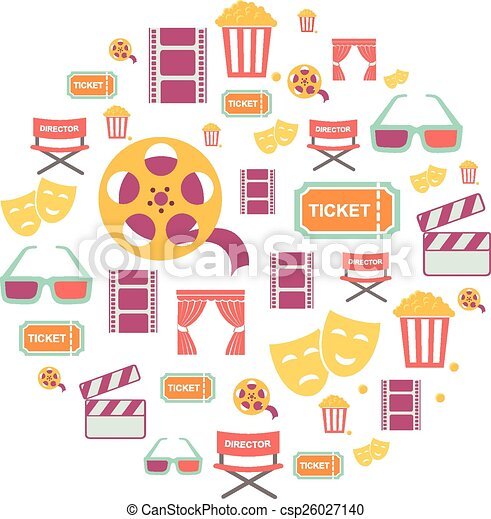 Movie Graphic Icons on white Background. - csp26027140