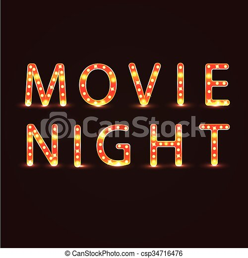Movie Night Sign Vector Illustration Neon Lights