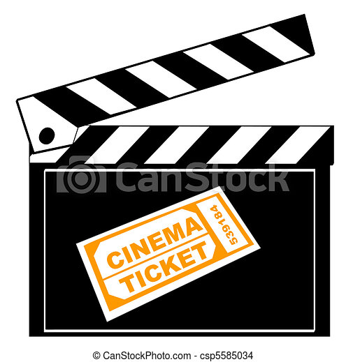 movie or film clapboard with cinema ticket drawing search clip art rh canstockphoto com