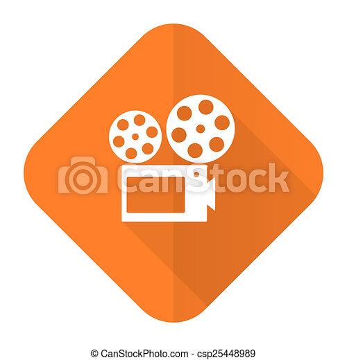 movie orange flat icon cinema sign - csp25448989