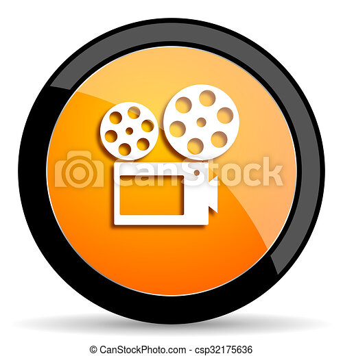 movie orange icon - csp32175636