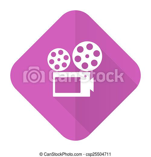 movie pink flat icon cinema sign - csp25504711