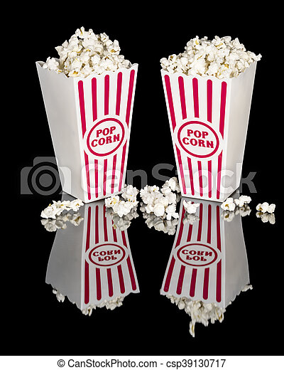 Movie popcorn in red and white containers - csp39130717