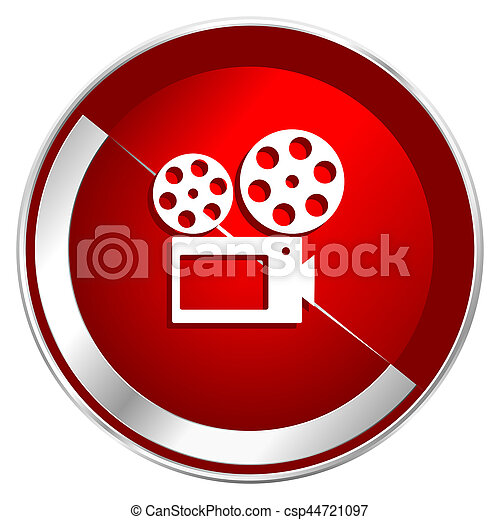 Movie red web icon. Metal shine silver chrome border round button isolated on white background. Circle modern design abstract sign for smartphone applications. - csp44721097