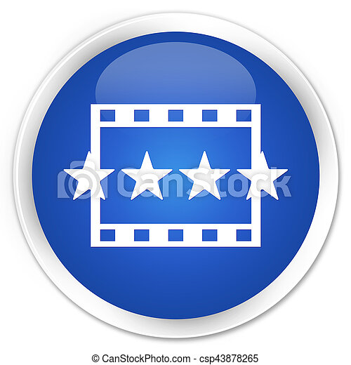 Movie reviews icon premium blue round button - csp43878265