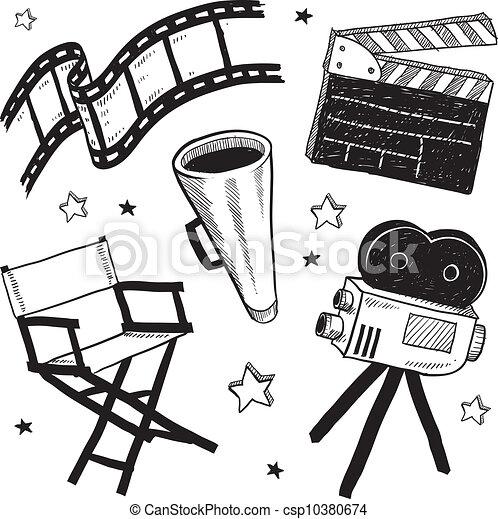 movie set equipment sketch doodle style movie set equipment sketch