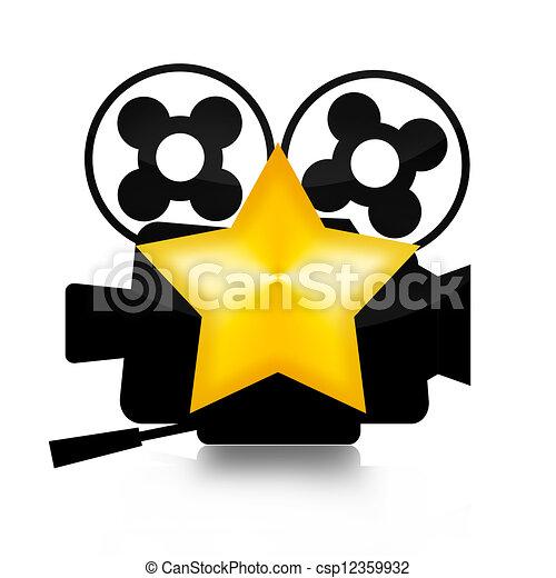 movie star retro film camera and golden star illustration rh canstockphoto com movie star clipart free movie star clipart