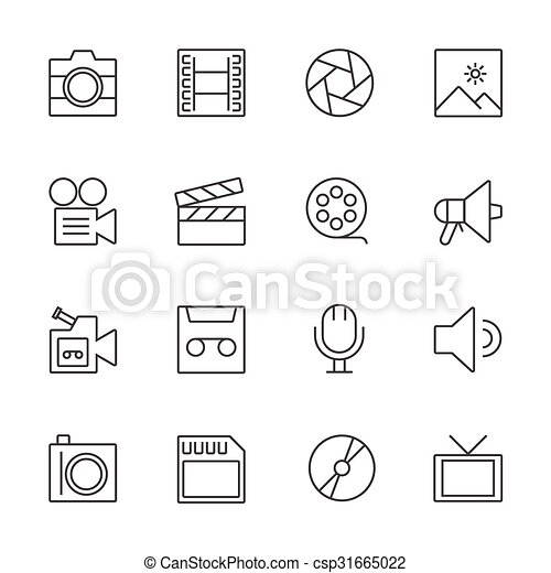 Movie technology icons. Line icon - csp31665022