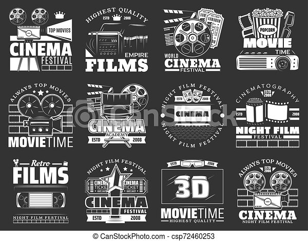 Movie Theater Cinema Film Reel Camera Popcorn Cinema And Movie Vector Badges With Film Reel Movie Theater And Tv Set