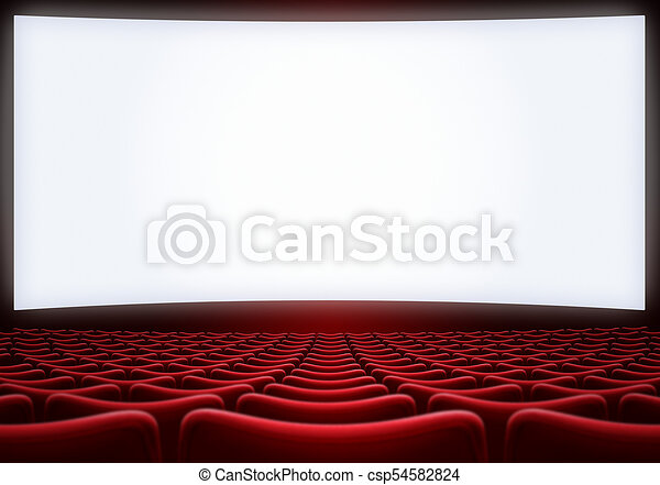 Movie Theater Screen With Red Seats 3d Illustration Movie Theatre Screen With Red Seats Background