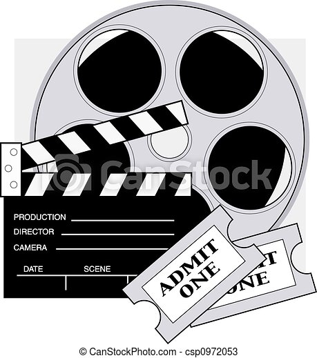 movie tickets clapboard movie reel and admission tickets for the