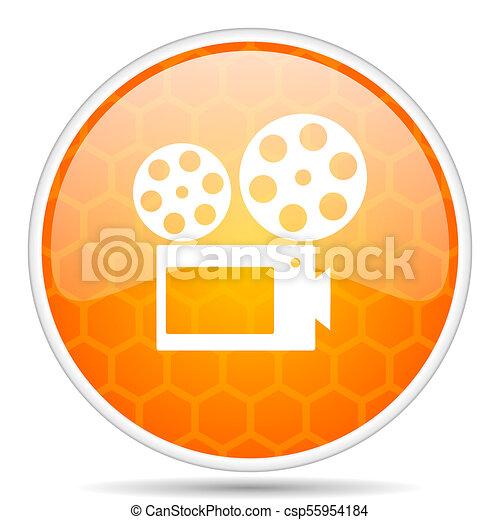 Movie web icon. Round orange glossy internet button for webdesign. - csp55954184