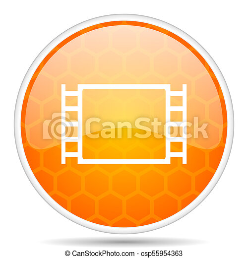 Movie web icon. Round orange glossy internet button for webdesign. - csp55954363