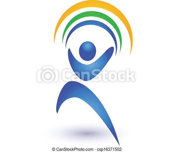 Persona en movimiento con logo arco iris - csp16371502