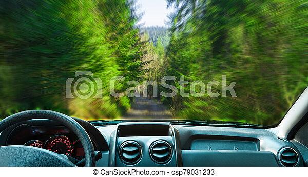 movimiento, forest., paisaje, coche, mancha - csp79031233