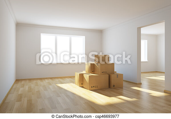 moving boxes at a new home - csp46693977