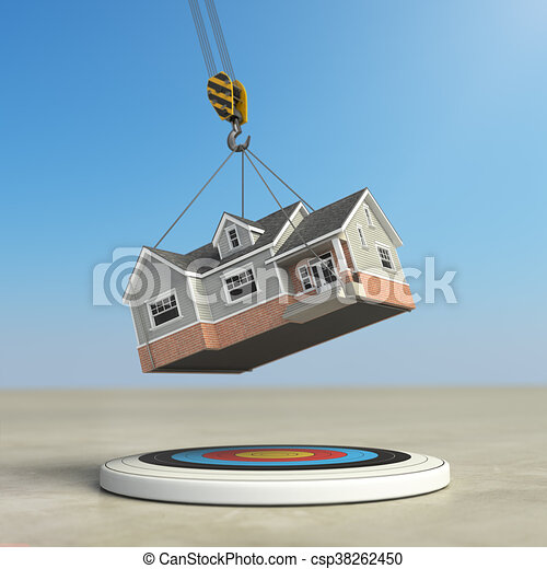 Moving  home. Crane with house and target. Change of residence. Real estate concept. - csp38262450